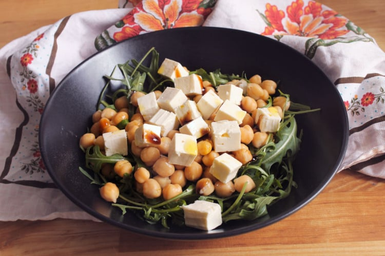 Chickpea arugula and feta cheese salad