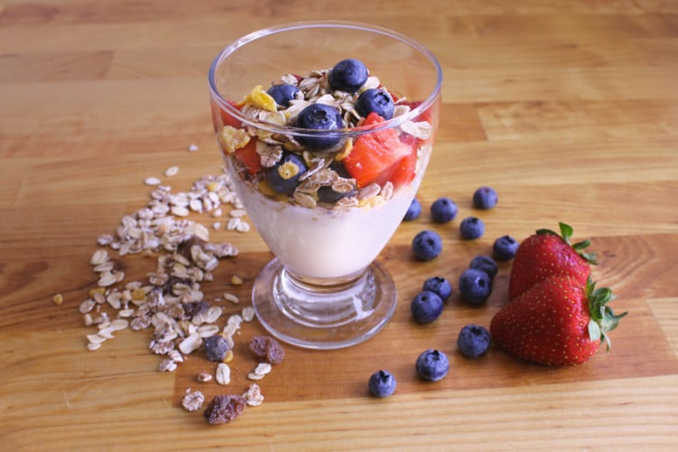 Yogurt, muesli and fruits