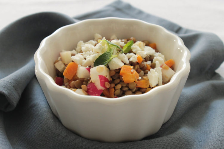 Lentil salad with carrots ad radishes