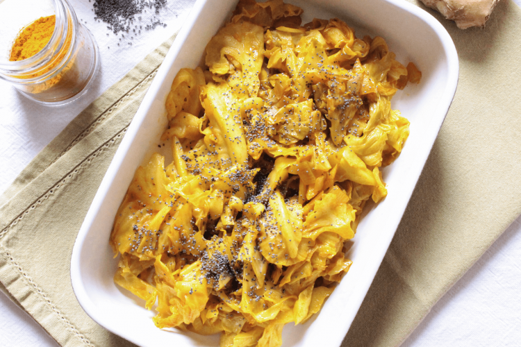 Cabbage with turmeric and ginger