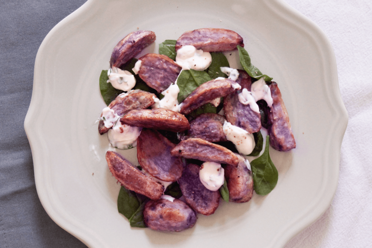 Purple potatoes salad