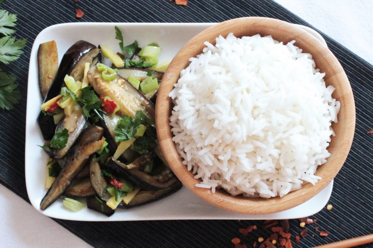 Spicy eggplants with basmati rice