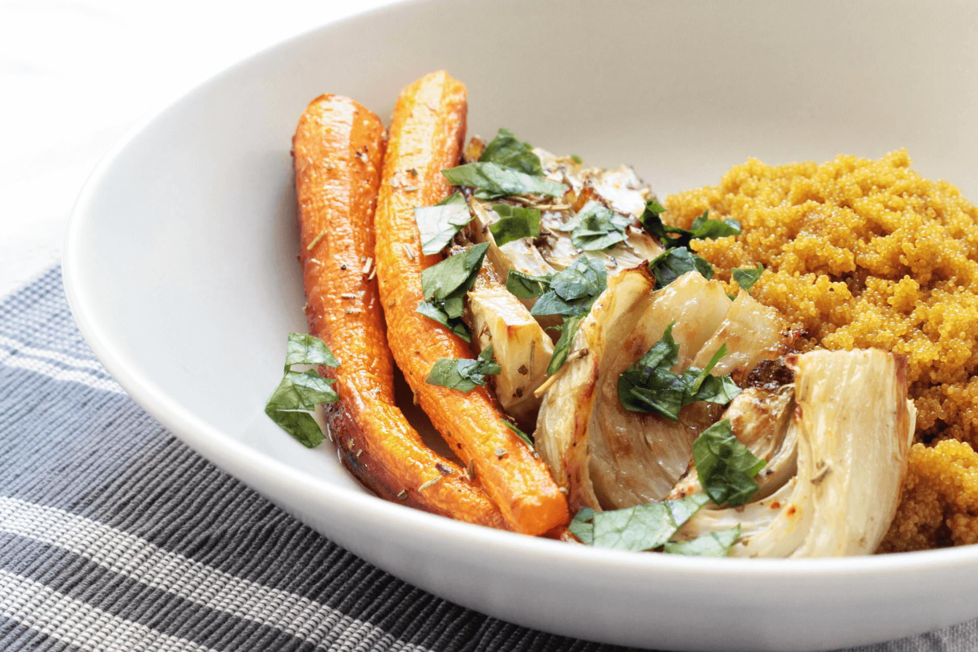 amaranto, finocchi e carote