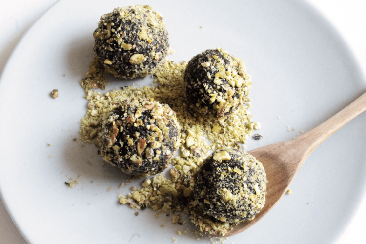 Dates and pistachio truffles