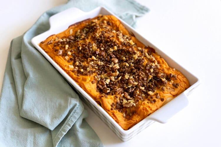 Lasagna vegan con crema di zucca, lenticchie e noci